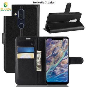 Für Nokia 3.1 plus Litschi Litschi Brieftasche Leder PU TPU Telefonabdeckung Fall mit Kartenhalter Für Nokia 7.1 plus X7