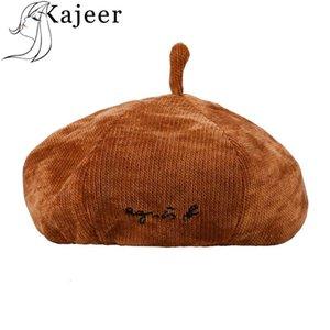 لون الصلبة Kajeer الأنيق المرأة مثمن كاب القبعات أزياء خمر القطن الصلبة لون قبعات أنثى بونيه دافئ المشي كاب