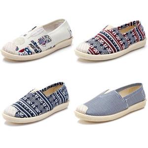 2020 zapatos de mujer sin marca Alpargatas Chaussures Slip On Flats Zapatos de lona casuales Mocasines Zapatillas Multiclticolors 35-40 Estilo 3a624#