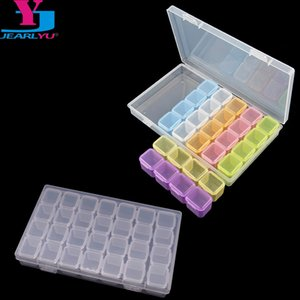 tas Décorations Strass 28 Grids vide Nail Art Décoration boîte de rangement en acrylique boîtier amovible Perles poudre Paillette strass Co ...