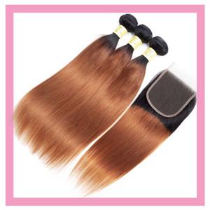 بيرو الشعر البشري 3 حزم مع 4X4 الرباط اختتام 1B / 30 لحمة الشعر أومبير مع إغلاق 4 من 4 الأوسط ثلاثة الجزء منتجات الشعر مستقيم الحرة