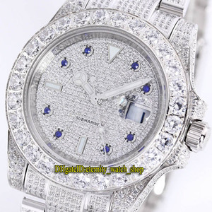 Beste Version 40mm New Sub 116.769 116.759 116.758 2.813 Automatische Herrenuhr Gypsophila Dial Big Diamond Bezel-Stahl-Diamant-Armband-Uhren
