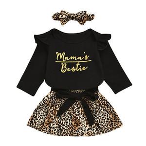 Bambino vestono i vestiti infantili Lettera Ruffler pagliaccetto Pullover bambini vestiti casuali delle ragazze del leopardo del merletto Gonne fascia del bambino abbigliamento casual 06