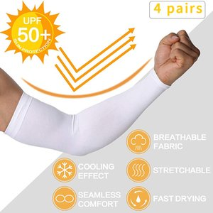 4-Pairs Cooling Arm Sleeves UV Protected Anti-Slip Compression Sun Sleeves Cover for Men Women Cycling Running Golf