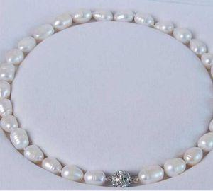 Livraison gratuite GRAND 11-12mm BLANC NATUREL REAL BAROQUE Cultured Pearl COLLIER