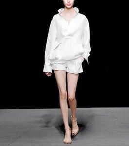 유럽과 미국의 새로운 스타일 봄 옷은 유행, 편안한, 캐주얼, 흰색 정장 2 세트 무료 배송