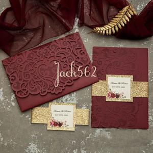 Burgund Marsala Graceful Herz Goldfolie Marine Champagne Gold Glitter Einladung Wedding Taschen-Hochzeitseinladung Gestanztes Laser Cut Blumen