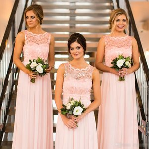New Country Long Bridesmaid Dresses Lace Sleeveless Blush Pink Chiffon Cheap Maid of Honor Dress Wedding Guest Party Evening Gowns