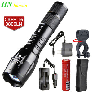 HaoXin LED Flashlight Bright Tactical Camping Fishing Flash Light T6 Rechargeable Torch Waterproof Lanterna Use 18650