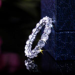 Anillo de la venda de las mujeres de lujo Eternidad boda princesa Cut Cubic Zircon de manera femenino de aniversario regalo Full Circle Square Anillos CZ
