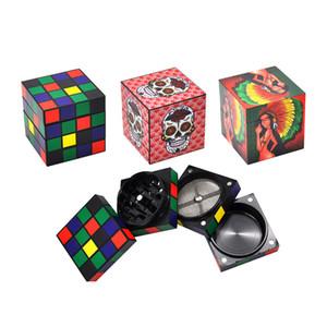 Premium distintivos Cube Molinillos de hierba 4 capas 50MM aleación de aluminio Grinder cubo mágico de tabaco a base de plantas Grinder Dry Fit hierba Miller