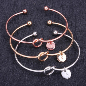26 Letter Rose Gold Silver Gold Color Knot Heart Bracelet Bangle Girl Fashion Jewelry Zinc Alloy Round Pendant Chain & Link Bracelets
