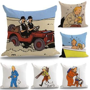 The Adventures of Tintin French Comics Pillow Euro Cover Decorative Massager Decorative Pillows Home Decor Gift