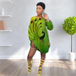 Imprimer Robe verte à manches longues d'été T-shirt Fashion Womens Robe ample Casual Femmes Designer Peacock