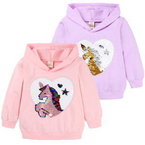 Fall New Unicorn Baby Girls Sweatshirts Spring Autumn Children Hoodies Cartoon Sequin Long Sleeves Sweater Fashion Kids Clothes
