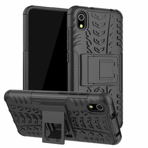5.45 inch For Xiaomi Redmi 7A Dazzle Shockproof Soft Silicone & Hard Plastic Dual Armor Back Case Stand Holder Cover