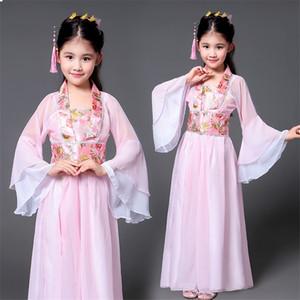 Hanfu Древний китайский традиционный костюм девушки сценический танец производительности платье Женщина Folk Fairy Эпикировка Tangsuit для детей