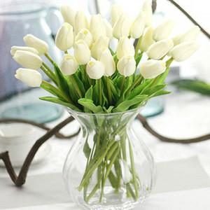 20 piezas / lote Artificial Tulip Flower PU Artificia Ramo de flores Flores de toque real Flores decorativas para el hogar