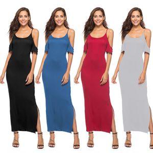 Summer Womens Casual bretelles spaghetti Strap Robe femme manches Clubwear Parti Robe longue à manches courtes Robes formelles
