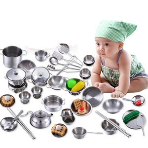 2020 Stainless Steel Kids House Kitchen Toy Cooking Cookware Children Pretense Plays for Children-Silver