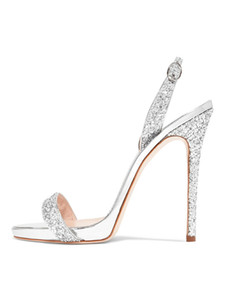 Дизайнерские туфли 2019 года новые модные сандалии с блестками ткань серебряный блеск стилет каблук шикарные сандалии на высоких каблуках женская праздничная обувь