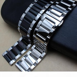 Polished Metal Black Silver Watchband 20mm 22mm 24mm Stainless Steel Watch Band Strap Men Silver Bracelet Replacement Solid Link T190620