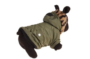 10PCS Pet Winter Clothes Soft Warm Dog Coat Clothing Shirt Sweater Pet Dog Clothes Army Green 6 Sizes