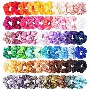 60PCS Katı Renk İpek Saten Saç Bantları Kadınlar veya Kız Saç Takı Hairband Kadın At Kuyruğu Scrunchies İçin Uygun
