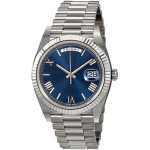 День Дата Новые Часы Мужчины День Дата Золотой Белый Часы Корона Сапфировое Стекло Автоматические Часы Президент Часы 0001