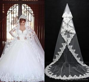 Vintage Beyaz Fildişi Tek Katman Düğün Veil Dantel gemi CPA091 için Tarak ucuz Ready ile Şapel Uzunluk Romantik Gelin Veils kenarlı