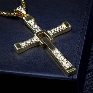 Silver and Gold The Fast And The Furious Cross Necklace Pendant Movie Vin Diesel Cross Pendant Necklace With 24