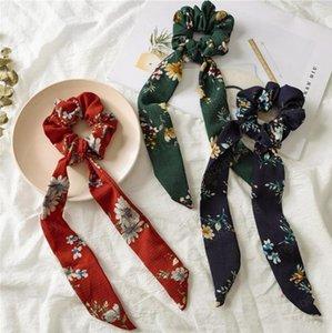 Bandas Floral Scarf Cabelo Mulheres Vintage Bow Hairband Scrunchies cabelo da flor fita headband Meninas Cabelo Acessórios 5 Designs 100pcs