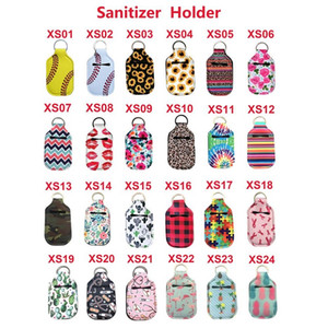 Neoprene Hand Sanitizer Bottle Holder portachiavi Borse 30ML 10.3 * 6cm Portachiavi a mano sapone Bottle Holder 24 colori
