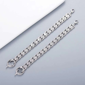 Europe America Hot Sale Retro Men Lady Women Silver Plated Engraved G Initials Pattern Lovers Wide Chain Bracelet