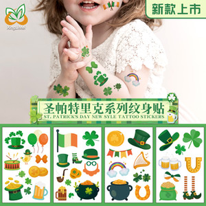 2020 New St. Patrick's Day Tattoo Stickers New Irish Clover Beer Face Hand Stickers Temporary Tattoos