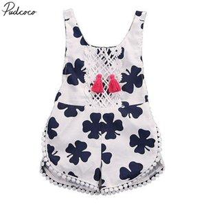 Pudcoco Jolie Kid bébé d'été imprimé floral manches Leak Retour coton Bodysuit 0-4years