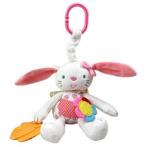 Baby Toy Soft Rabbit Plush Doll Baby Rattle Ring Bell Crib Bed Hanging Animal Toy Teether Multifunction Kids Toy