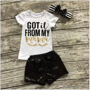 2017 New Summer Baby Girl Clothing Sets Infant Toddler Short Sleeve T-shirts+Sequined Shorts+Striped Headbands 3pcs Set Kids Outfits 80-120