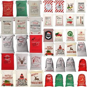 2020Christmas Gift Bags Large Organic Heavy Canvas Bag Santa Sack Drawstring Bag With Reindeers Santa Claus Sack Bags Christmas Decorations