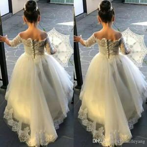 Abiti spalla ragazza fiore con maniche Abiti ragazze pizzo Lunghezza pavimento A-Lne Flower Girsl Abiti per matrimoni New Fashion