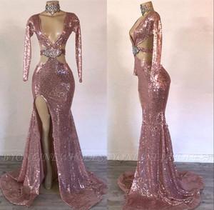 Sparkling Rose Gold mangas compridas sereia Dividir Prom Dresses 2020 Profunda V Neck frisada Sexy vestidos de noite Applique formal do partido vestidos BC3297