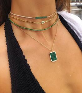 Banhado a ouro baguette do arco-íris verde cúbicos zircônia 30 + 10 centímetros de casamento gargantilha mulheres lindas colar