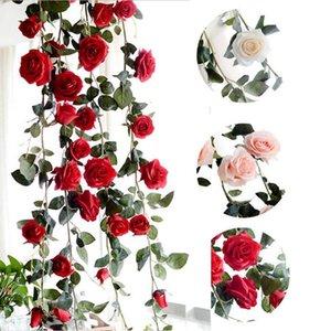 Simülasyon 1.8m Avustralya Rose Rattan Yapay İpek Çiçek Ev Dekorasyonu