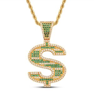 Hiphop Rapper Big Chunky Jewelry Punk Style Dollar Sign Symbol $ Letter Pendant Necklace for Men Women