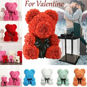 Romantische Valentinstag Plüsch Rose Teddybär 25CM Foam Blumen-nette Weihnachts Wedding Present Geburtstag Girfriend Geschenk