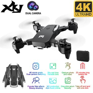 XKJ 2020 New drone KK6 RC Drone 4K HD Dual Camera 50X Times Zoom WIFI FPV Foldable Quadcopter One-click Return Kids Toys