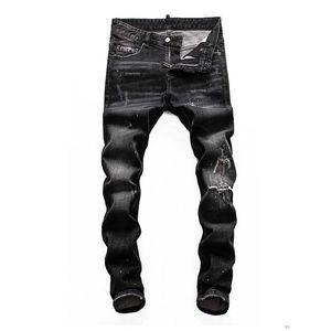 dsquared2 DSQ D2 DSQUARED2 hommes jeans luxe concepteur noir pantalon moto déchirée a biker maigre hanche verser les hommes hop de Hommes revival rock denim bestQZBV6