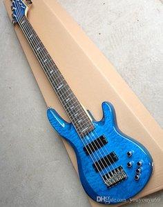 Blue 6 cordas da guitarra baixo elétrico e circuito ativo, chama bege verniz, escala em jacarandá, de alta qualidade, a produção de precisão, proporcionando