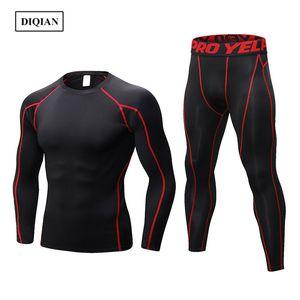 DIQIAN 2018 Fitness Sport Set Hommes Solide Couleur Homme Tight Sport Costume 9 décoloré Ensembles Gym manches longues T-shirt et pantalon 2XL