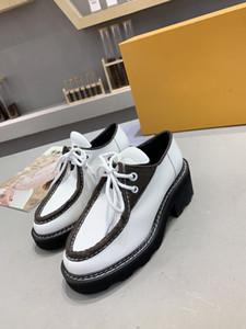 (مع مربع) أزياء Beaubourg لحذاء فاخر منصة DERBY الرباط حتى أسود أبيض أحذية مصمم العلامة التجارية أحذية نسائية عارضة حجم 35-42